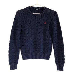 {Ralph Lauren} Navy Blue Cableknit Sweater